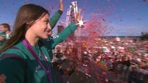 The tickertape flew and the crowd roared as Katie lapped up her moment of glory