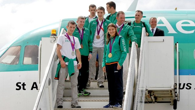 Ireland's Olympians were greeted by the media ahead of being reunited with their families