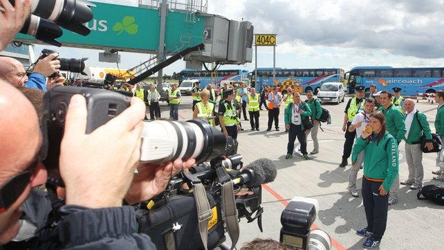 There was a big media presence at Dublin Airport