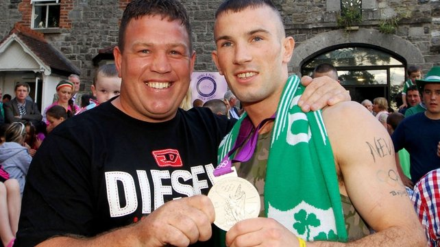 Boxer Francie Barrett, who represented Ireland in the Atlanta Games, with John Joe Nevin in Mullingar