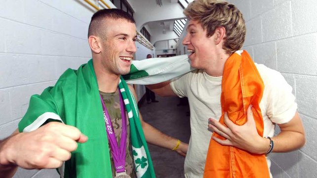 John Joe Nevin and One Direction's Niall Horan in Cusack Park, Mullingar