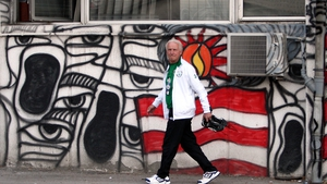 Giovanni Trapattoni makes his way to the dressing room prior to training at the Red Star Stadium in Belgrade