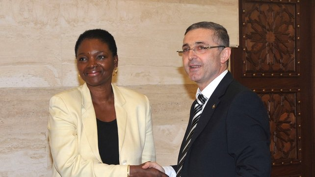 Valerie Amos is greeted by Dr Ali Haidar in Damascus