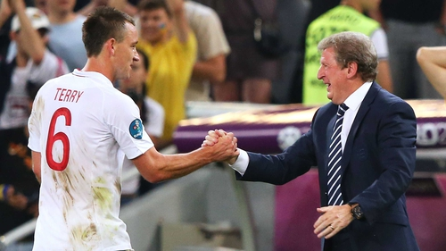 John Terry and Roy Hodgson shake hands following their Euro 2012 win over Ukraine