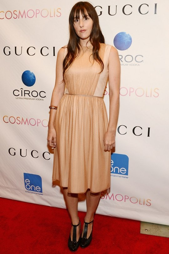 Filmmaker Ry Russo-Young looks flawless in this nude silk chiffon dress this week
