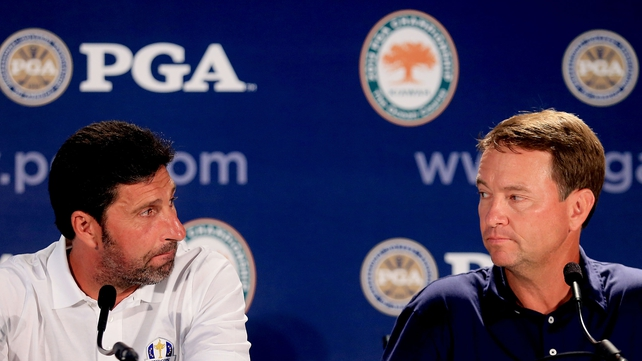 Jose Maria Olazabal with US Ryder Cup team captain Davis Love III