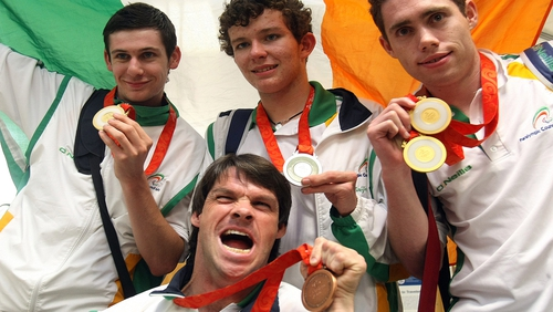 Ireland's Paralympic medallists in Beijing 2008. Michael McKillop (Gold - Athletics), Darragh McDonald (Silver_ Swimming), Jason Smyth (2 Gold - Athletics), Gabriel Shelly (Bronze - Boccia)