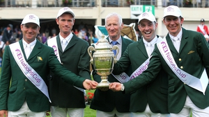 Chef d'équipe Robert Splaine (centre) with the Aga Khan trophy and riders (from left) Darragh Kerins, Richie Moloney, Cian O'Connor and Clem McMahon