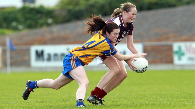 Shauna Harvey of Clare tackles Claire Hehir of Galway during their quarter-final clash in Birr