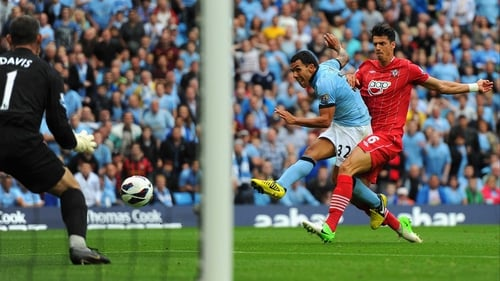 Carlos Tevez struck the opening goal on 40 minutes