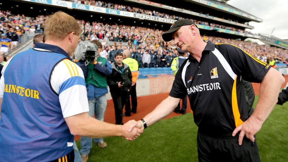 Declan Ryan and Brian Cody of Kilkenny shake hands at the final whistle