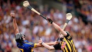 Paul Curran beats Kilkenny captain Eoin Larkin to a high ball