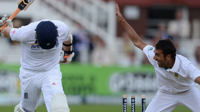 Graeme Swann of England is run out by Imran Tahir of South Africa