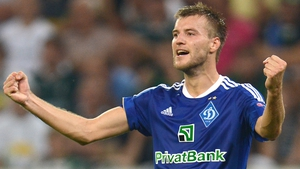 Andriy Yarmolenko celebrates a big win for the Ukranian side