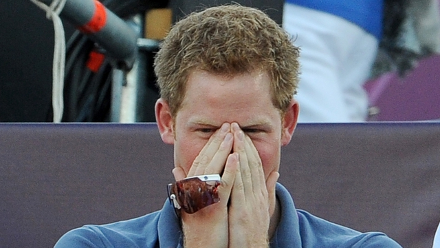 Prince Harry pictured watching Beach Volleyball at the London 2012 Olympic ...