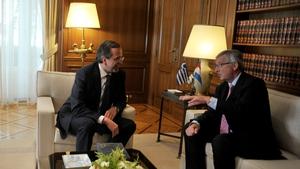 Jean-Claude Juncker and Antonis Samaras held talks in Athens today