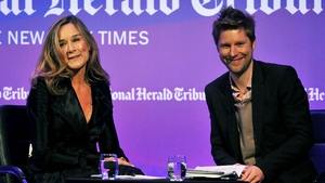 Buberry CEO Christopher Bailey, right, next to his predecessor Angela Ahrendts