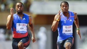 Tyson Gay (left) could not contain Yohan Blake (right) in the 100m