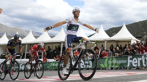 Valverde crosses the line to take the stage victory