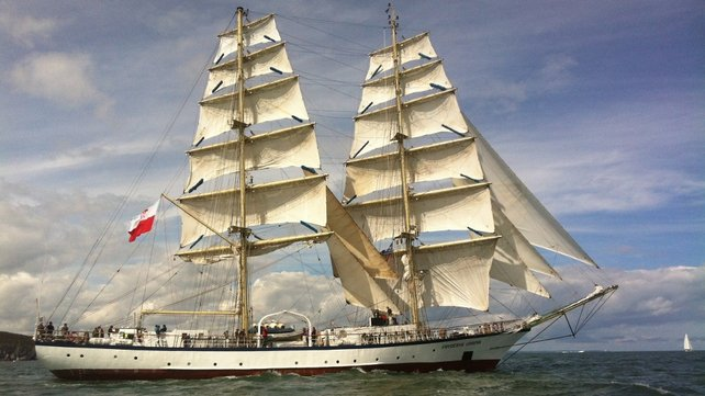 The Fryderyk Chopin in full sail after it left Dublin's docklands