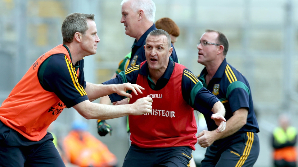 Meath minor manager Andy McEntee (red bib) celebrates his side's late winning goal