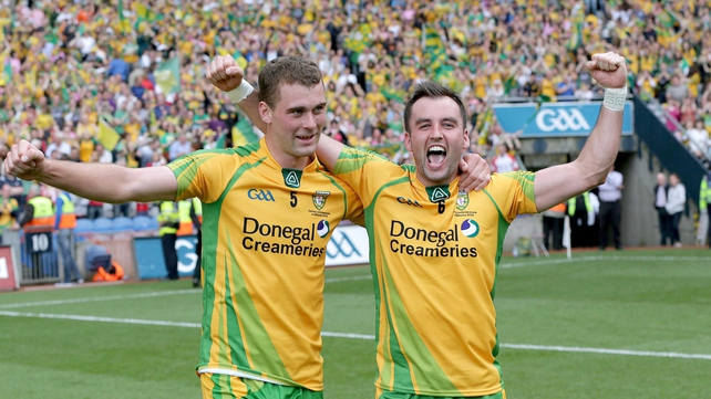Donegal's Karl Lacey and Eamonn McGee celebrate after reaching the final