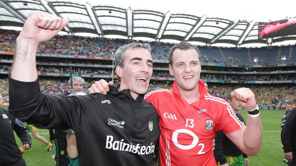 Donegal manager Jim McGuinness and captain Michael Murphy celebrate reaching the All-Ireland final