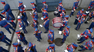 The Artane Band prepare to take to the field