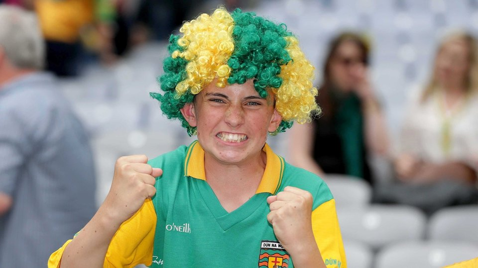 A delighted Donegal supporter after the final whistle