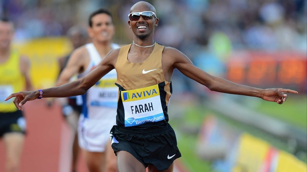 Mo Farah got a rapturous reception on his return to action at the Aviva Birmingham Grand Prix