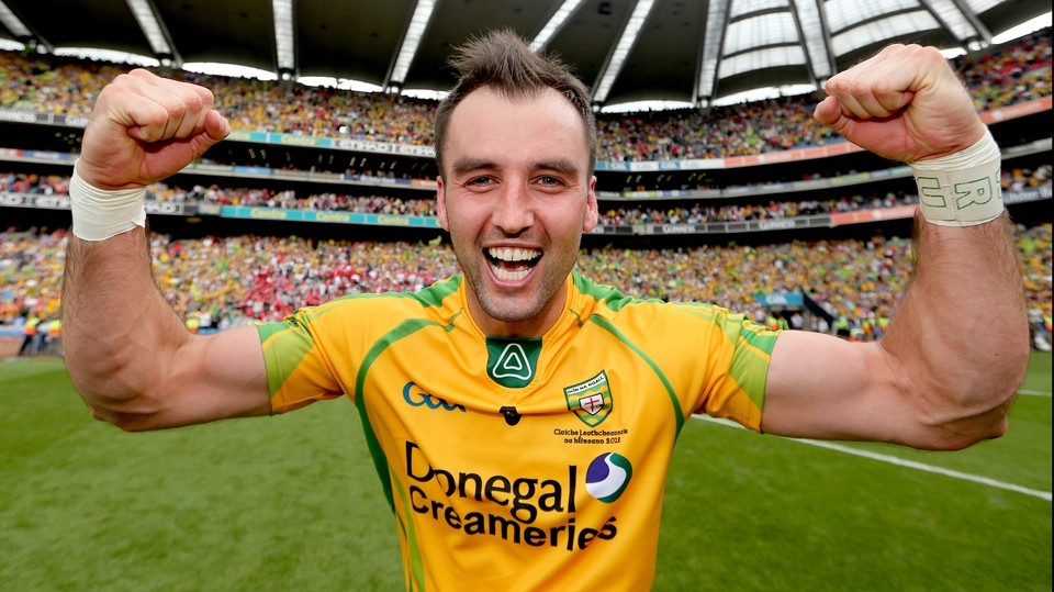 Karl Lacey celebrates after the Ulster champions ground out a 0-16 to 1-11 win