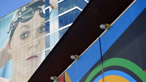 Swimmer Eleanor Simmonds is pictured on a building next to the Olympic park in east London