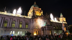 A fireworks display as a Paralympic cauldron was lit outside Stormont in Belfast