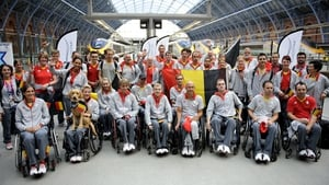 Members of Belgium's Paralympic team arrive by Eurostar at St Pancras International station