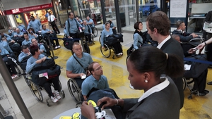 French paralympians arrive at Gare du Nord, in Paris, before their departure to London