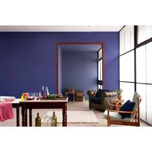 Main Wall: Indigi Night, Far Wall: Moonwaves 1, Frame: Cherry Chocolate