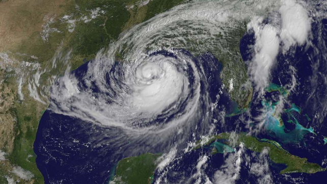 A satellite image of Isaac as it tracks towards New Orleans