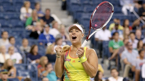 Angelique Kerber celebrates match point at Flushing Meadows