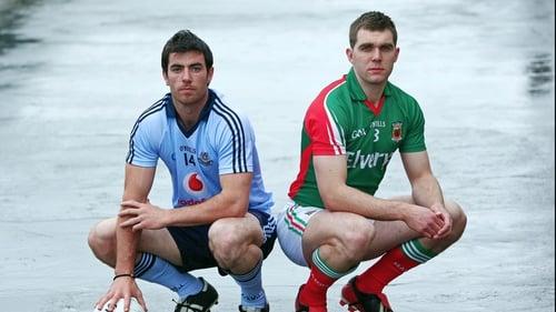 Dublin's Michael Darragh MacAuley and Mayo's Seamus O'Shea