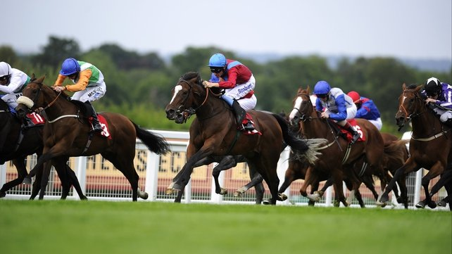 Richard Hughes delivers Dank (red, blue sash) with a perfectly timed run to land the Atalanta Stakes at Sandown