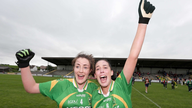 Kerry's Aoife Lyons and Aislinn Desmond celebrate at full-time