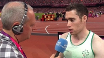 Jason Smyth speaks to RTÉ's Adrian Eames after his medal success