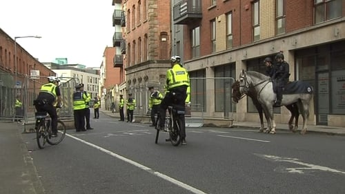 Gardaí operated a checkpoint at the entrance to Smithfield Square