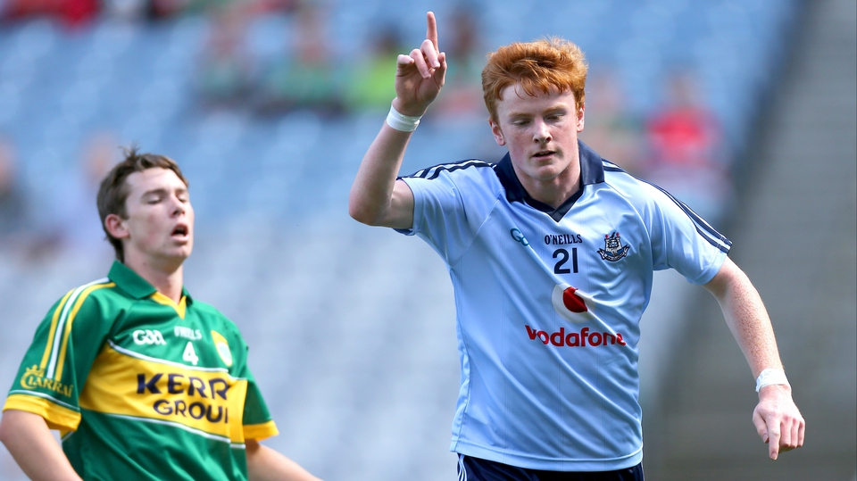 Conor McHugh of Dublin celebrates scoring his side's first goal during the minor semi-final against Kerry