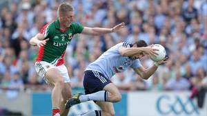 Dublin's Bernard Brogan (r) was watched closely all day by Kevin Keane of Mayo