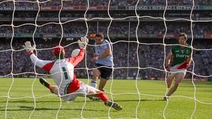 Mayo's goalkeeper David Clarke makes a crucial save from Bernard Brogan of Dublin
