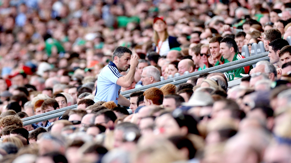 Dublin's Alan Brogan returns to the substitutes' bench after being replaced