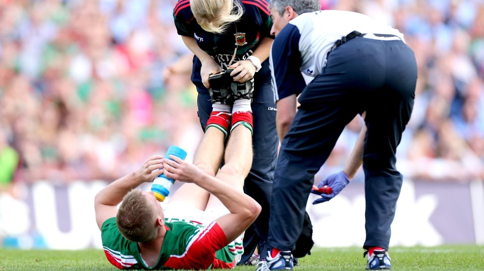 Mayo's Kevin Keane goes down with an injury