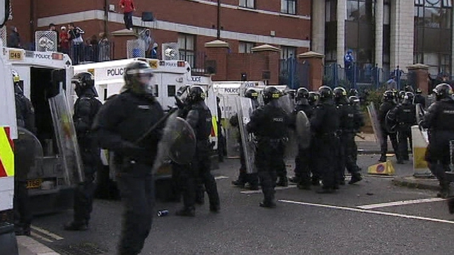 The PSNI was attacked with fireworks, petrol bombs and masonry