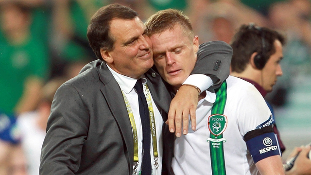 Ireland assistant manager Marco Tardelli with Damien Duff
